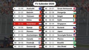 F1-kalender 2020 - definitief (bron NOS)